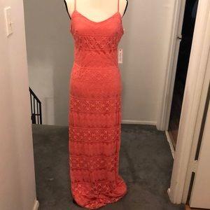 Orange lace maxi dress.